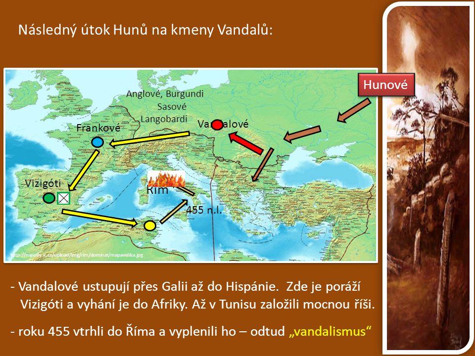 Následný útok Hunů na kmeny Vandalů: