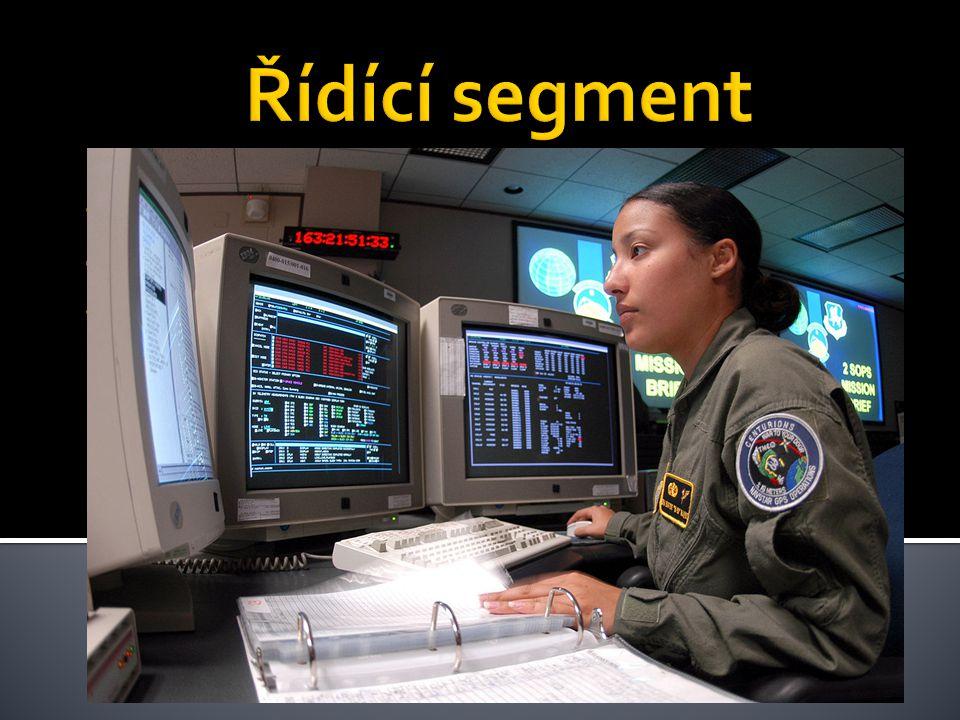 Řídící segment Monitoruje kosmický segment a zasílá povely družicím