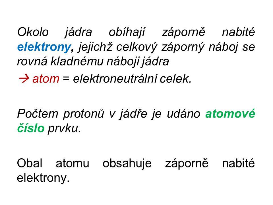 Okolo jádra obíhají záporně nabité elektrony, jejichž celkový záporný náboj se rovná kladnému náboji jádra  atom = elektroneutrální celek.