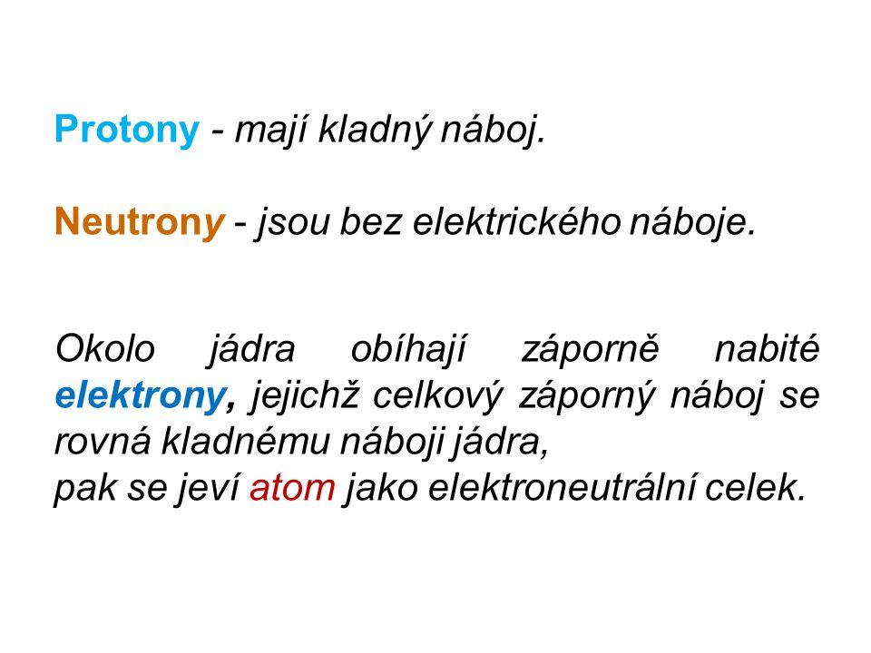Protony - mají kladný náboj. Neutrony - jsou bez elektrického náboje