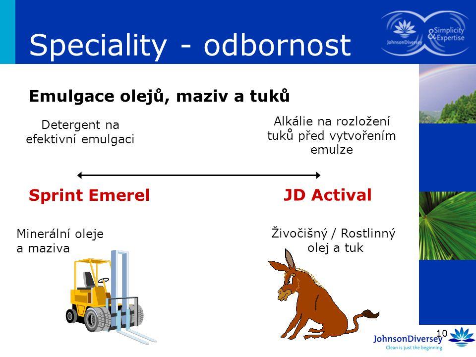 Speciality - odbornost