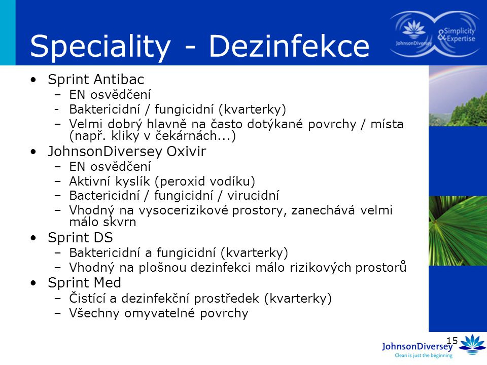Speciality - Dezinfekce