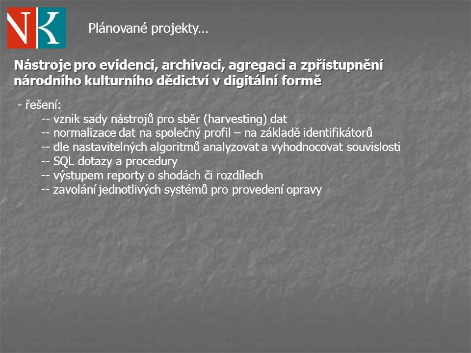 Plánované projekty… Nástroje pro evidenci, archivaci, agregaci a zpřístupnění národního kulturního dědictví v digitální formě.