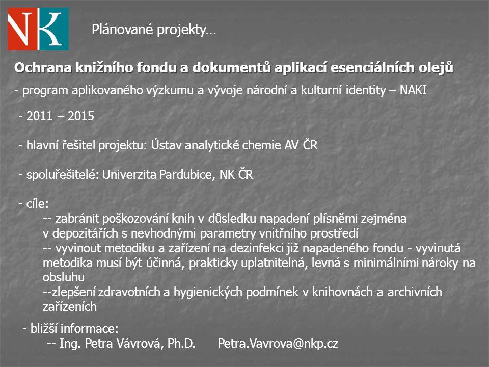 Ochrana knižního fondu a dokumentů aplikací esenciálních olejů