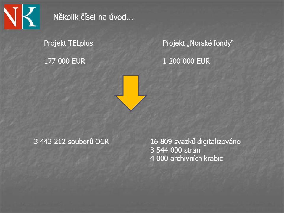 """Několik čísel na úvod... Projekt TELplus Projekt """"Norské fondy"""