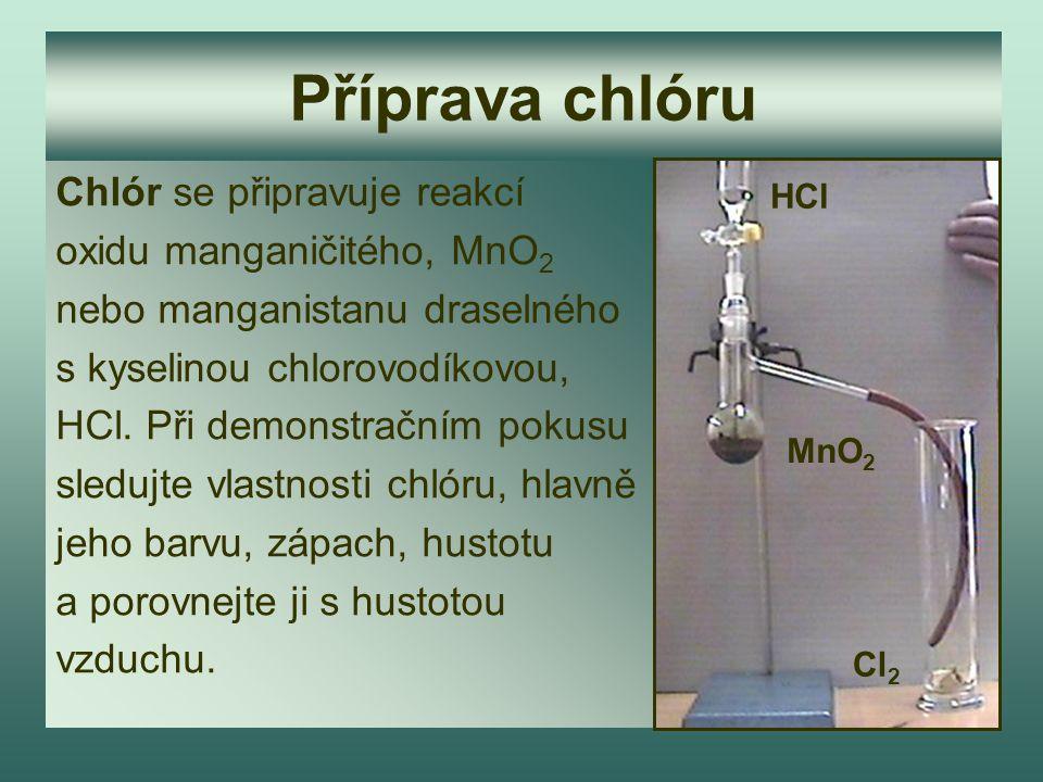 Příprava chlóru Chlór se připravuje reakcí oxidu manganičitého, MnO2