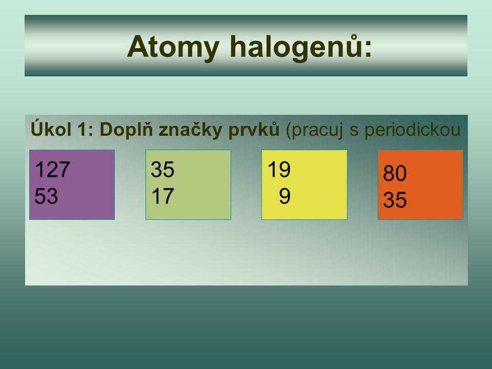 Atomy halogenů: Úkol 1: Doplň značky prvků (pracuj s periodickou tabulkou): 127 53 35 17 19 9 80 35