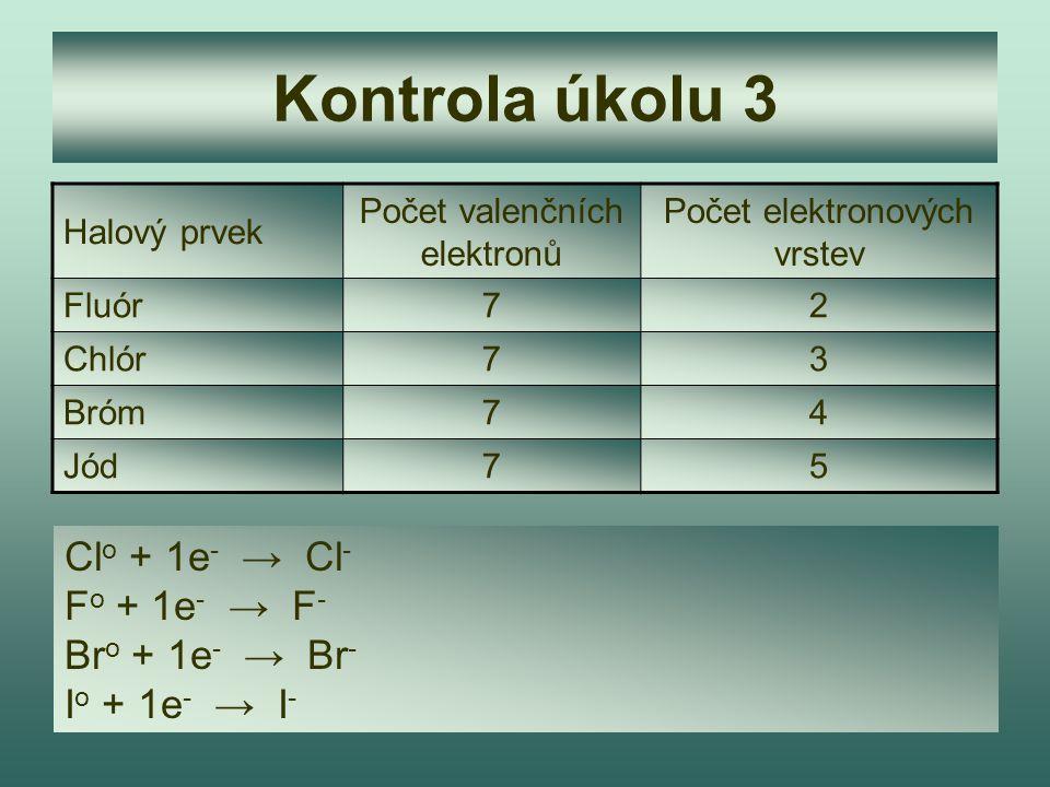 Kontrola úkolu 3 Clo + 1e- → Cl- Fo + 1e- → F- Bro + 1e- → Br-