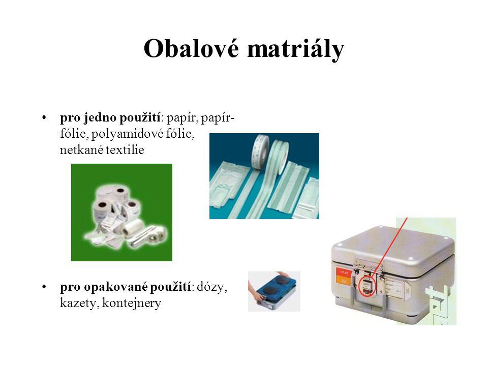 Obalové matriály pro jedno použití: papír, papír-fólie, polyamidové fólie, netkané textilie.