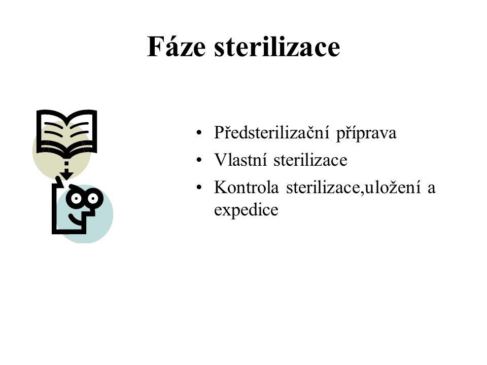 Fáze sterilizace Předsterilizační příprava Vlastní sterilizace