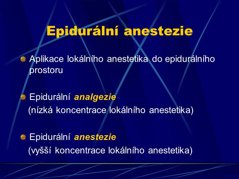 Epidurální anestezie Aplikace lokálního anestetika do epidurálního prostoru. Epidurální analgezie.