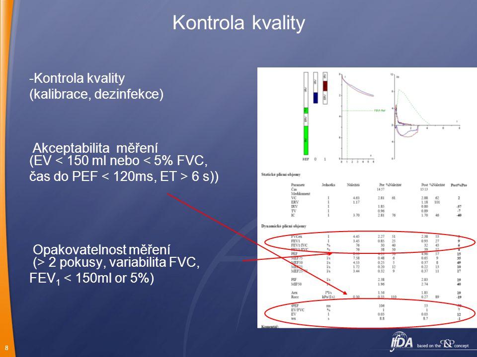 Kontrola kvality Kontrola kvality (kalibrace, dezinfekce)