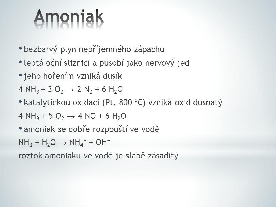 Amoniak bezbarvý plyn nepříjemného zápachu