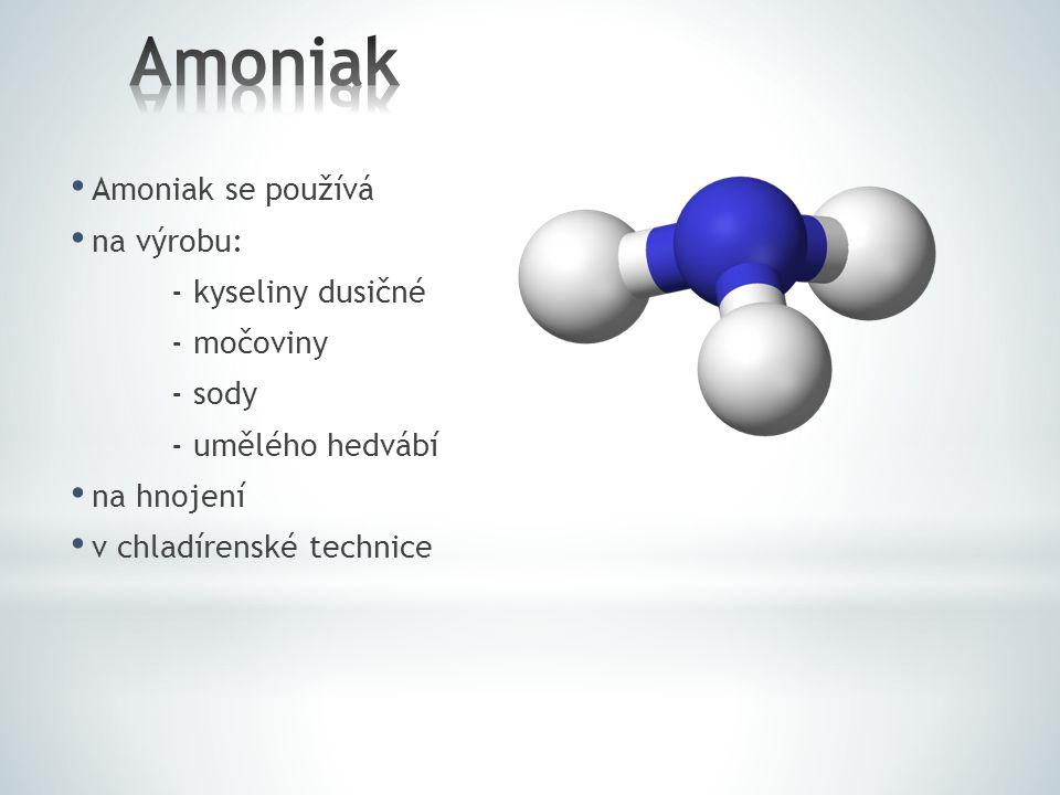 Amoniak Amoniak se používá na výrobu: - kyseliny dusičné - močoviny