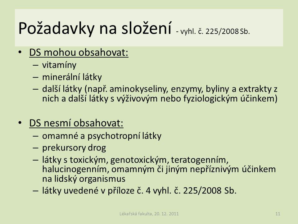 Požadavky na složení - vyhl. č. 225/2008 Sb.