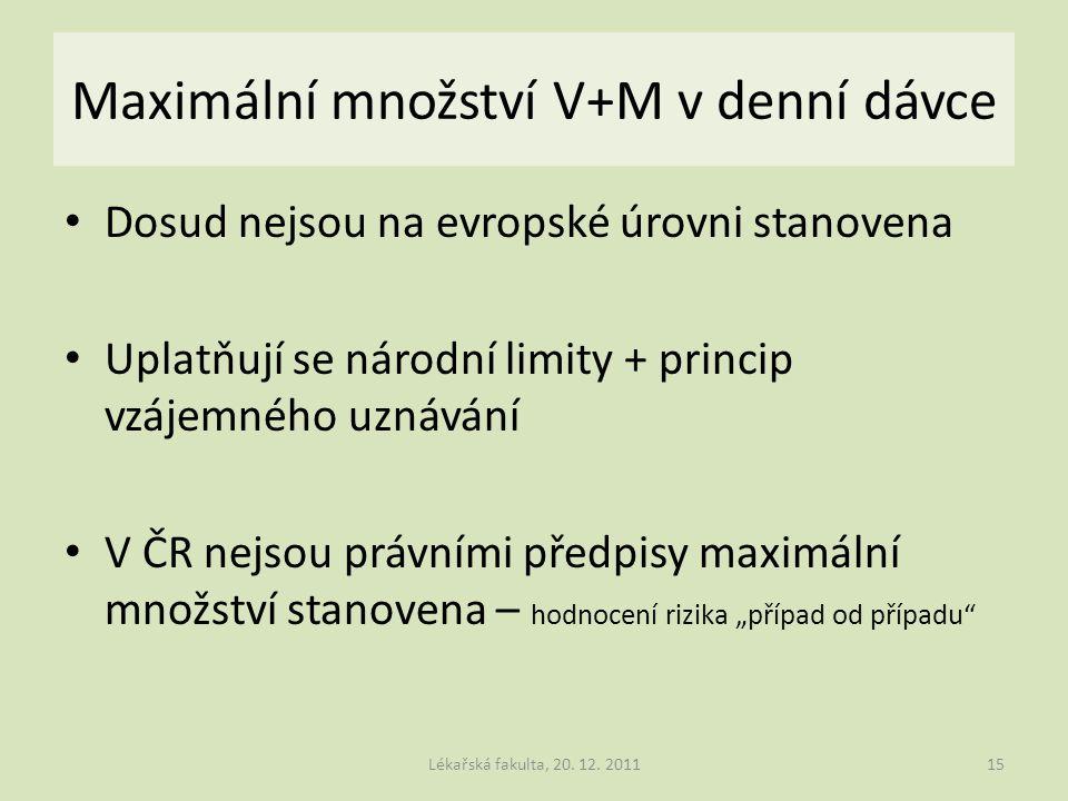 Maximální množství V+M v denní dávce