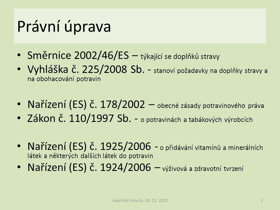 Právní úprava Směrnice 2002/46/ES – týkající se doplňků stravy