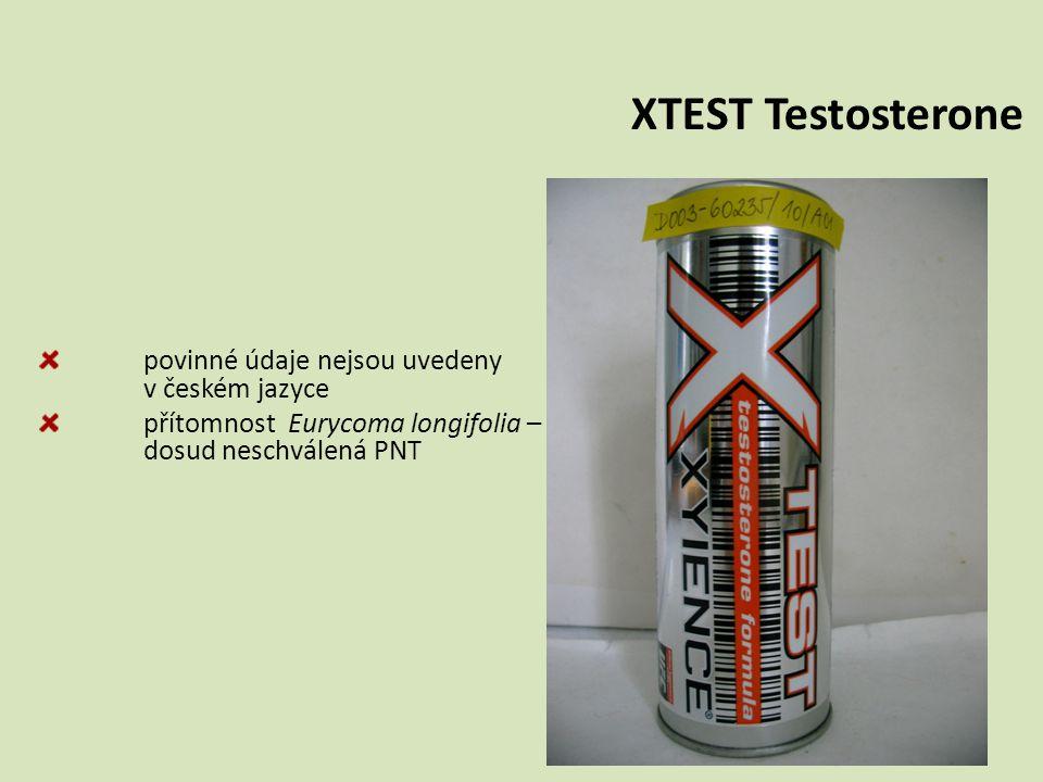 XTEST Testosterone povinné údaje nejsou uvedeny v českém jazyce