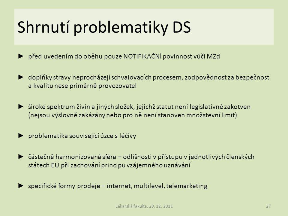 Shrnutí problematiky DS
