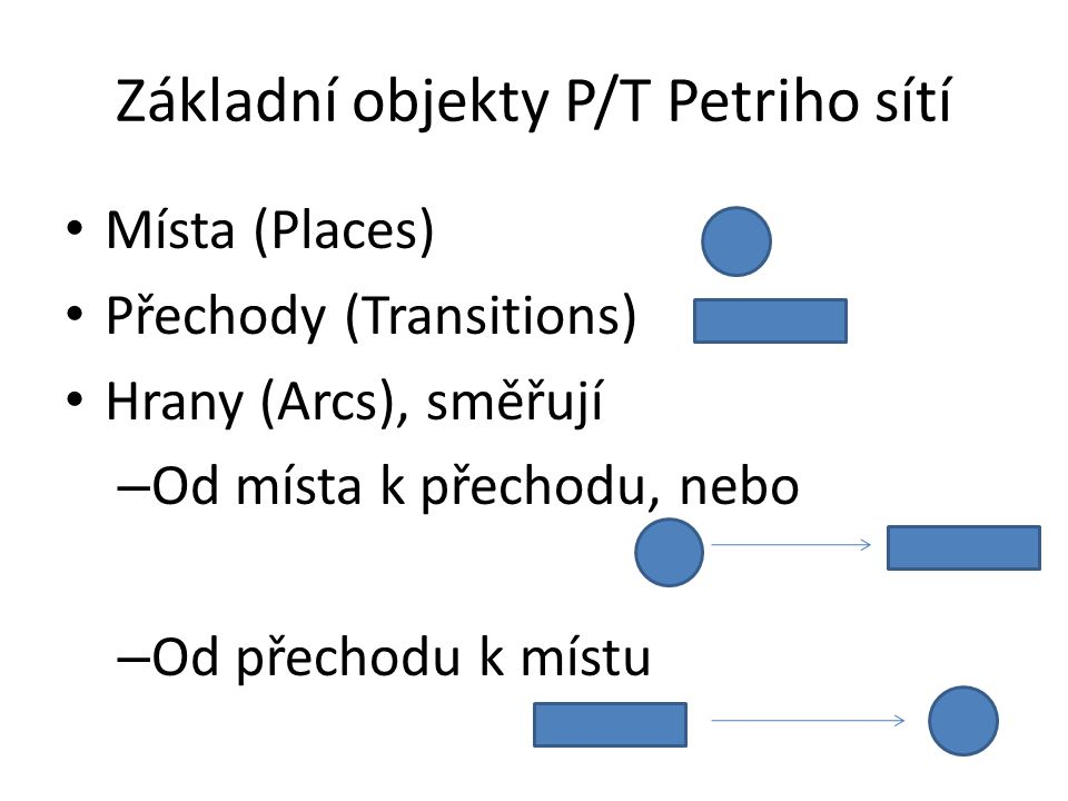 Základní objekty P/T Petriho sítí