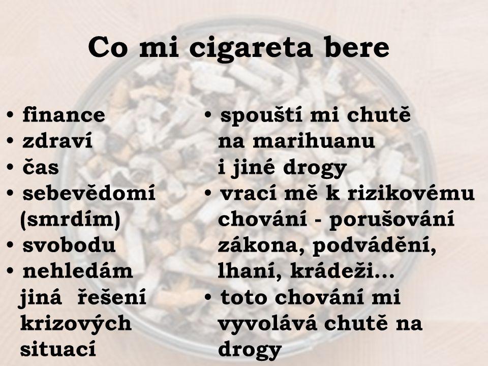 Co mi cigareta bere finance zdraví čas sebevědomí (smrdím) svobodu