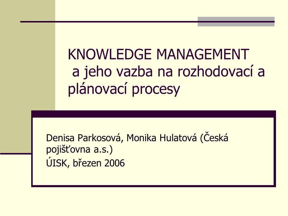 KNOWLEDGE MANAGEMENT a jeho vazba na rozhodovací a plánovací procesy