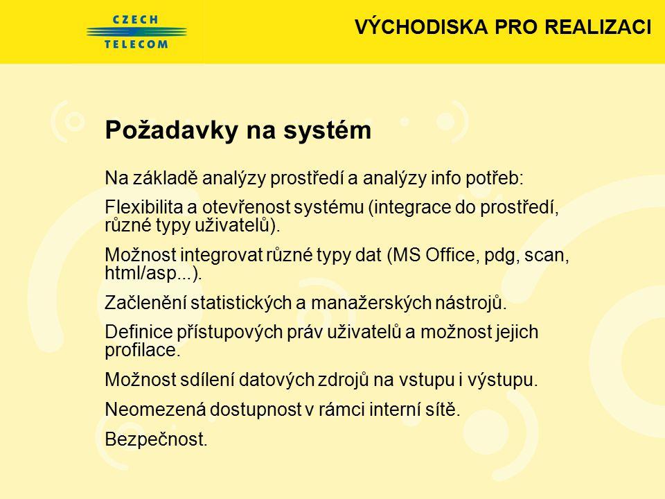 Požadavky na systém VÝCHODISKA PRO REALIZACI