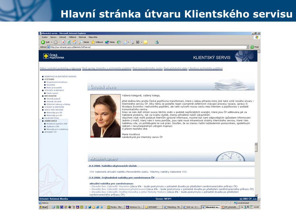 Hlavní stránka útvaru Klientského servisu