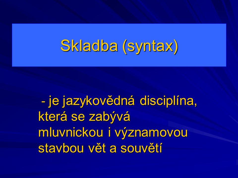Skladba (syntax) - je jazykovědná disciplína, která se zabývá mluvnickou i významovou stavbou vět a souvětí.