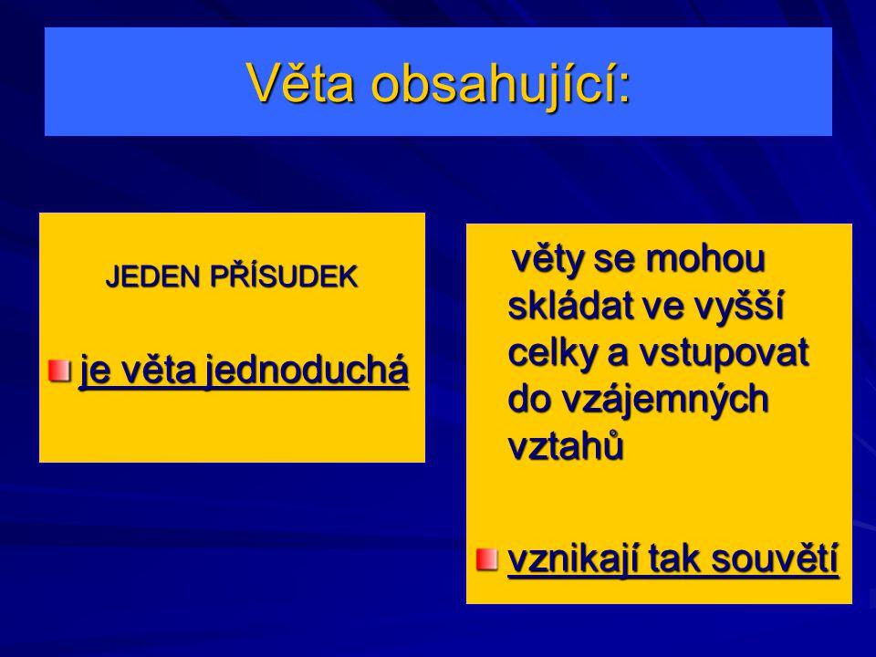 Věta obsahující: JEDEN PŘÍSUDEK. je věta jednoduchá. věty se mohou skládat ve vyšší celky a vstupovat do vzájemných vztahů.