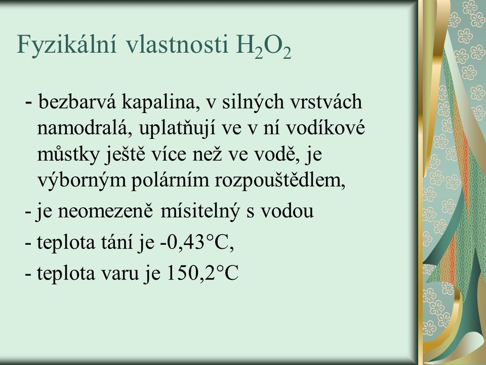 Fyzikální vlastnosti H2O2