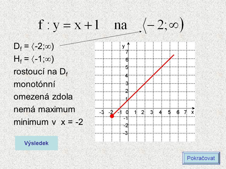 Df = -2;) Hf = -1;) rostoucí na Df monotónní omezená zdola