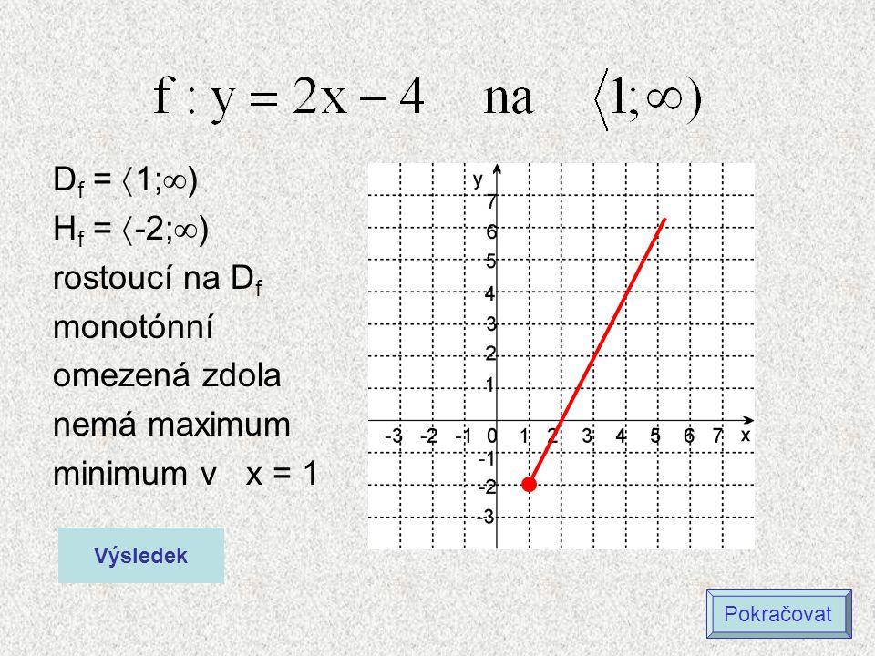 Df = 1;) Hf = -2;) rostoucí na Df monotónní omezená zdola
