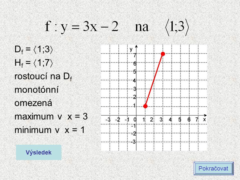 Df = 1;3 Hf = 1;7 rostoucí na Df monotónní omezená maximum v x = 3