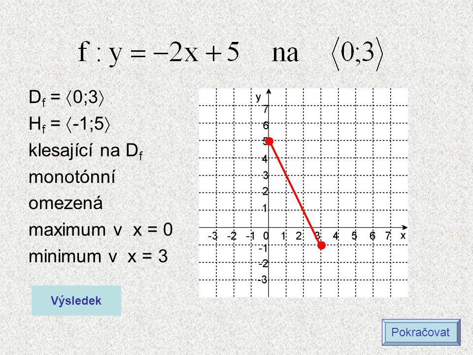 Df = 0;3 Hf = -1;5 klesající na Df monotónní omezená