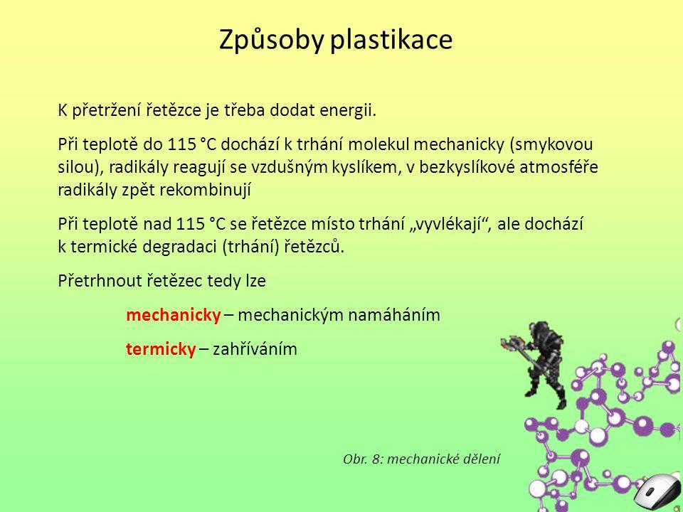 Způsoby plastikace K přetržení řetězce je třeba dodat energii.