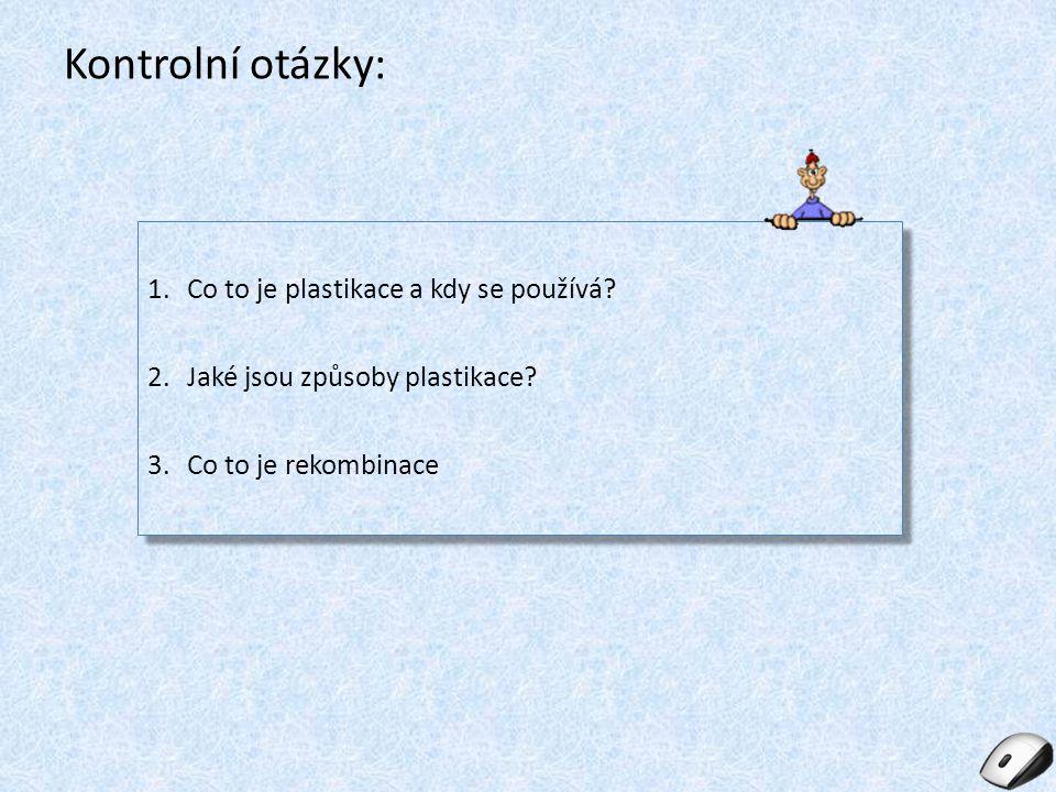 Kontrolní otázky: Co to je plastikace a kdy se používá