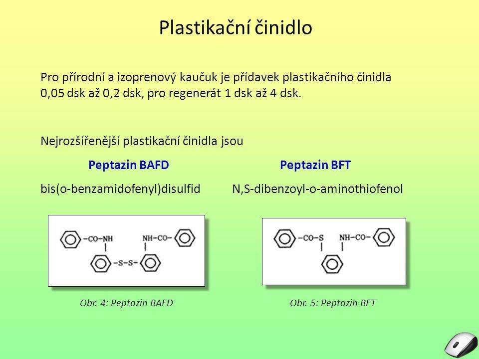 Plastikační činidlo Pro přírodní a izoprenový kaučuk je přídavek plastikačního činidla 0,05 dsk až 0,2 dsk, pro regenerát 1 dsk až 4 dsk.