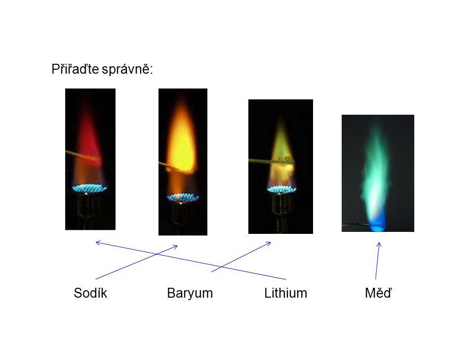 Přiřaďte správně: Sodík Baryum Lithium Měď