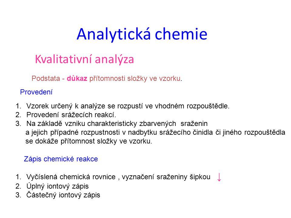 Analytická chemie Kvalitativní analýza