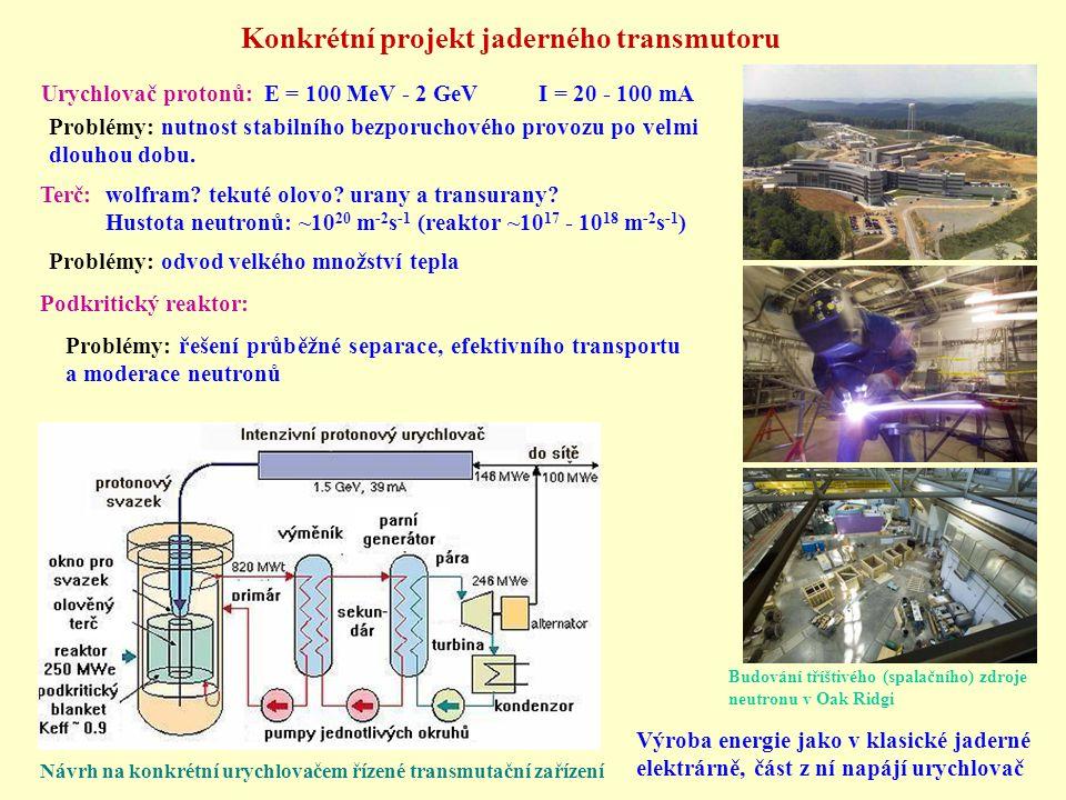 Urychlovač protonů: E = 100 MeV - 2 GeV I = 20 - 100 mA