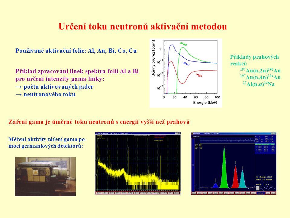 Určení toku neutronů aktivační metodou