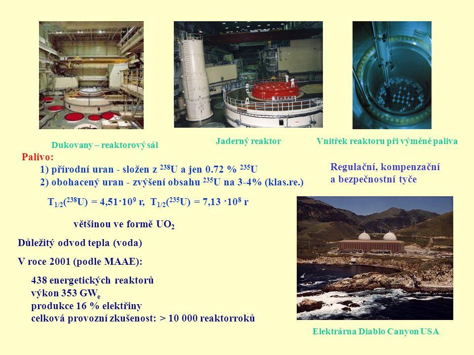 1) přírodní uran - složen z 238U a jen 0.72 % 235U