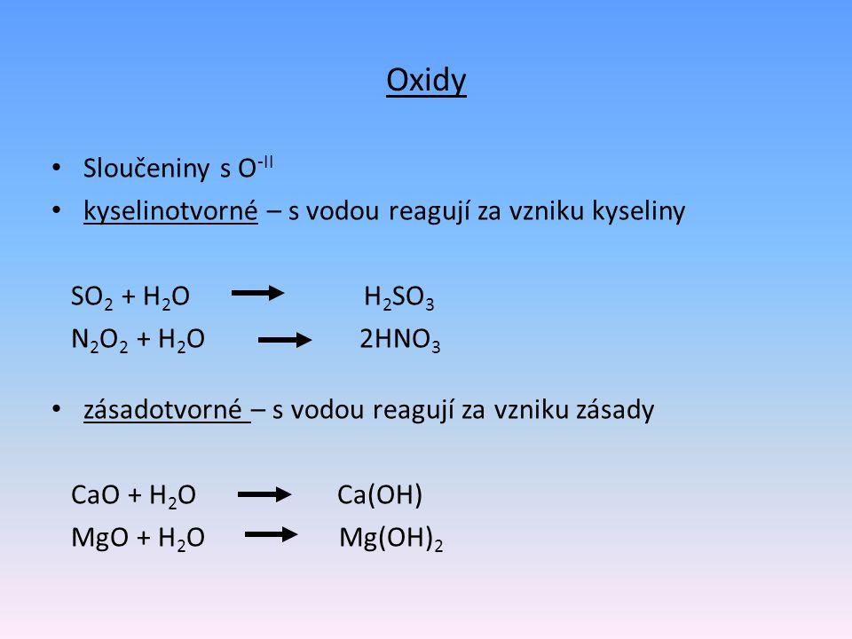 Oxidy Sloučeniny s O-II