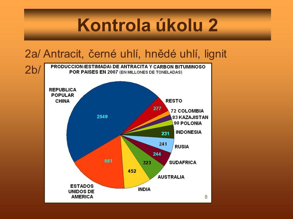 Kontrola úkolu 2 2a/ Antracit, černé uhlí, hnědé uhlí, lignit 2b/ 8