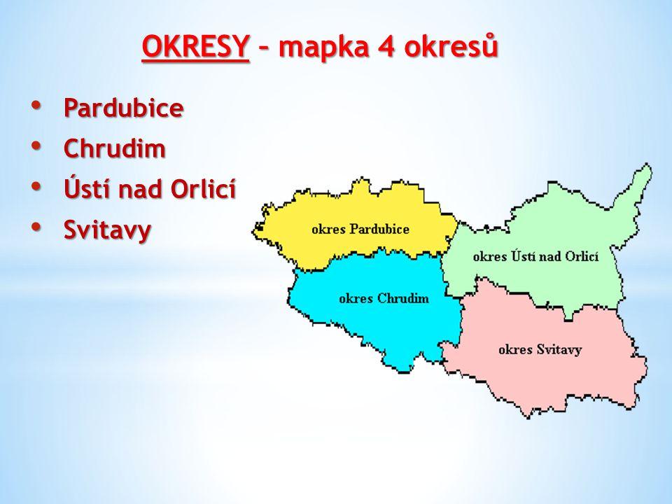 OKRESY – mapka 4 okresů Pardubice Chrudim Ústí nad Orlicí Svitavy
