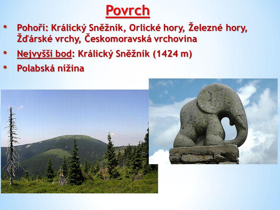 Povrch Pohoří: Králický Sněžník, Orlické hory, Železné hory, Žďárské vrchy, Českomoravská vrchovina.