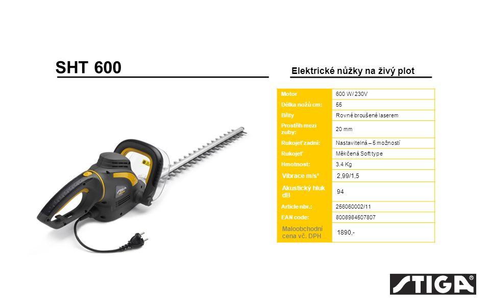 SHT 600 Elektrické nůžky na živý plot Vibrace m/s² 2,99/1,5