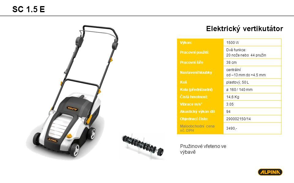 SC 1.5 E Elektrický vertikutátor Pružinové vřeteno ve výbavě Výkon: