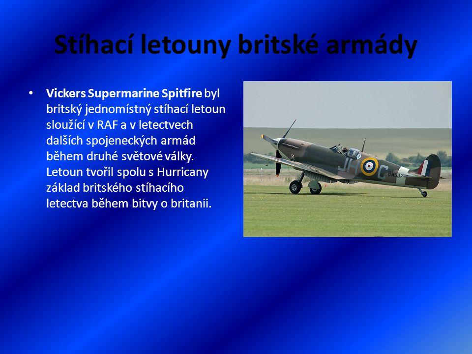 Stíhací letouny britské armády